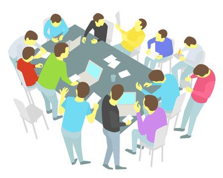 conversaciones: Grupo de hombres de negocios reunidos mesas redondas de colaboraci�n y conferencia proceso de discusi�n de presentaci�n de conferencias Trece personas establecidas. Vectores