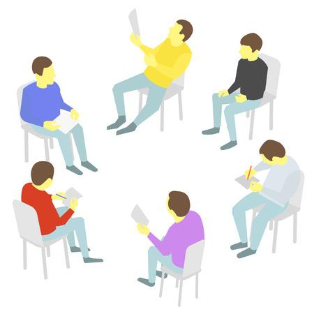conversaciones: Grupo de los busines. Cinco personas que cumplan las conversaciones de mesa redonda de colaboración y conferencia de presentación de la conferencia proceso de discusión
