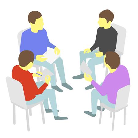conversaciones: Grupo de los busines. Cuatro personas que se re�nen colaboraci�n rueda de conversaciones y discusi�n proceso de presentaci�n de la conferencia