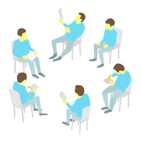 discuss: Group of busines. Five people meeting round-table talks conference collaboration and discussion process conference presentation