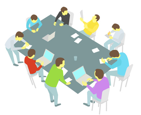 discussion: Group of business people meeting round-table talks conference collaboration and discussion process conference presentation nine persons set.