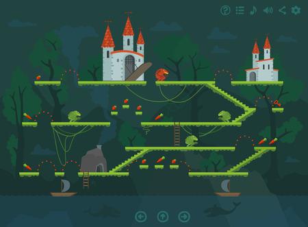 Mobile platform game level interface design elements. Flat illustration set.