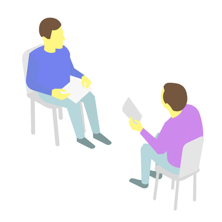 communication occupation: Two people talking Sitting on chairs. With paper in hand. Illustration Illustration