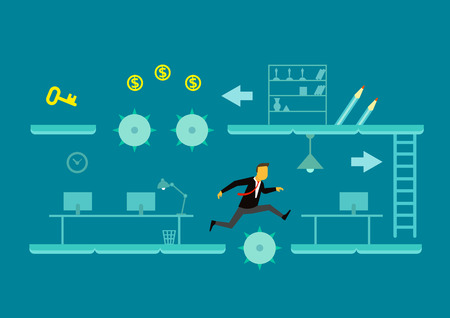 business game: The game of business. A man jumps over obstacles. Concept business illustration Illustration