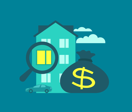 buying: Mortgage buying home illustration