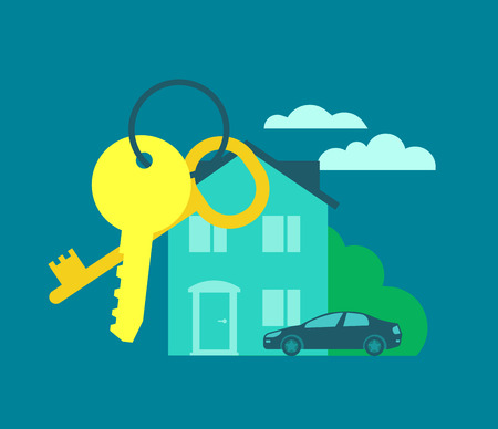 buy car: Keys from the house. Buying real estate Rent house Illustration