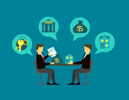 bienes raices: Hacer frente a los bienes inmuebles. El acuerdo comprador y el vendedor en la mesa de negociación. ilustración