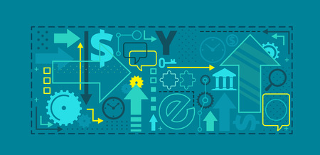business collage: Banner background collage, business and investment composition The concept, vector illustration on blue background