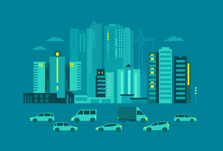 metropolis: Cars in the city. Metropolis street on blue background, evening or night. Flat vector illustration for banner advertising.