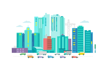 metropolis: Cars in the city. Metropolis street on white background optimistic Flat vector illustration for banner advertising.