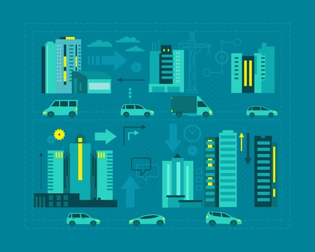 metropolis: Cars in the city. Metropolis street on blue background scheme business graphic evening or night. Flat vector illustration for banner advertising.