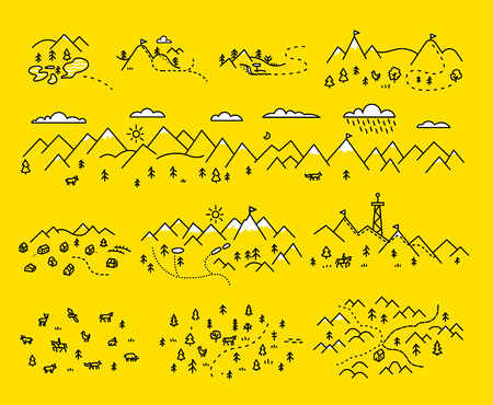 hand set: Hand draw map set elements. Mountains rivers trails animals. Line chart Illustration