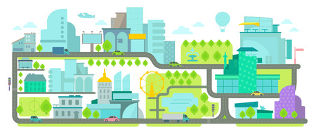 urban environment: Urban Environment. Banner with houses and roads. Illustration flat vector. Illustration