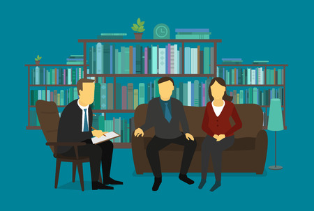 psyche: Family psychologist listens married couple. Doctor man business meeting with the couple. Illustration. Illustration