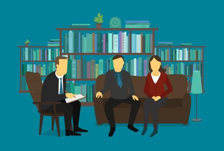psique: La psicóloga familiar escucha pareja casada. reunión de negocios del hombre del doctor con la pareja. Ilustración.