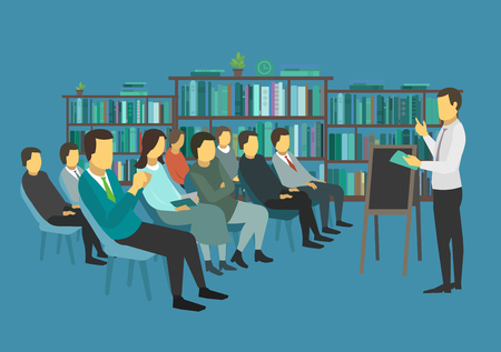 Students in college. Lecture hall. Many people on chairs listening lecture. Vector illustration.