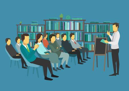 Studenten op het college. Leszaal. Veel mensen op stoelen luisteren lezing. Vector illustratie.