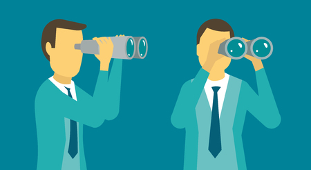 Person man looking ahead through binoculars. Banner advertising. Vector illustration