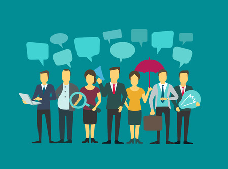 proclaim: Business group people company teamwork. Brainstorming talking. Communication with speech bubbles. Flat Vector Illustration