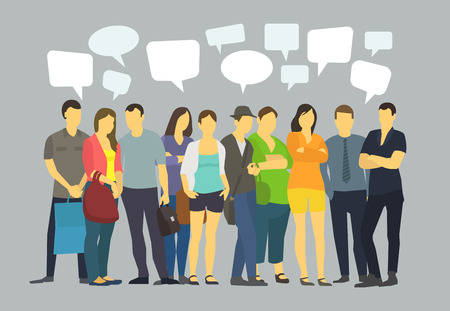 discussion: Many ordinary people crowd talking. Communication with speech bubbles. Illustration