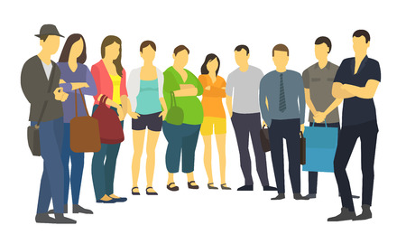 people  male: People are standing in a semicircle. Set many ordinary modern . Adult human male and female person.