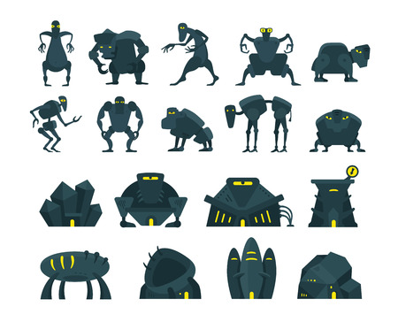 martians: Game set. Monsters or virus, houses and characters. Extraterrestrial beings