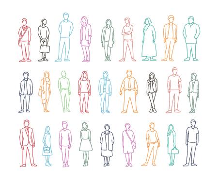 Freehand tekening heeft veel verschillende gewone mensen. Volwassene mannelijke en vrouwelijke persoon. Stockfoto - 72306723