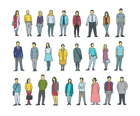 fila de personas: El mano-dibujo a mano alzada fijó a mucha gente común común. Persona masculina y femenina. Vectores
