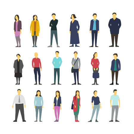 distinctly: Neatly vector people standing flat design large set Illustration