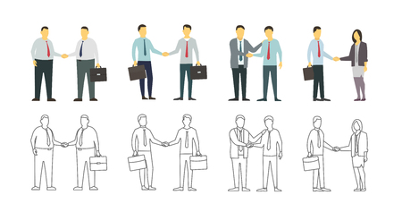 variant: Two men shake each other hands. Business style. Flat graphics for your design. Contour linear variant