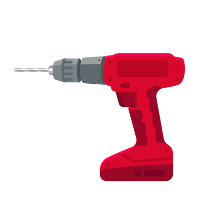 standalone: Electric drill stand-alone on the battery and bit repair elements, construction hand tool on a white background.