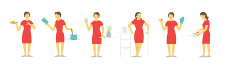 food preparation: A woman set of different poses preparation food by prescription. Dishes and saucepan. Red dress, beautiful slender girl. Illustration