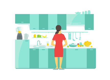 food preparation: A woman in the kitchen preparation food dishes and tableware saucepan dinnerware Table and kitchen cabinets. Illustration