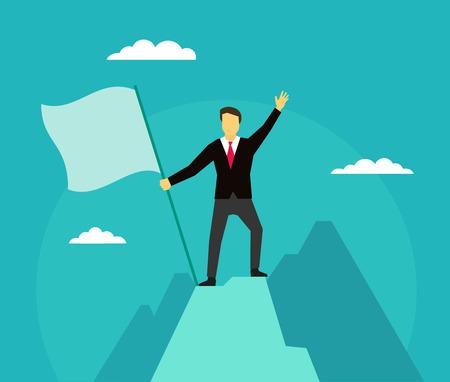Leader winner on top of the mountain success. Illustration