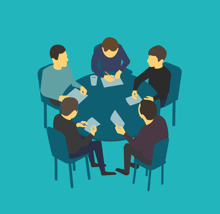 associate: Small company table talks. Team business people meeting conference