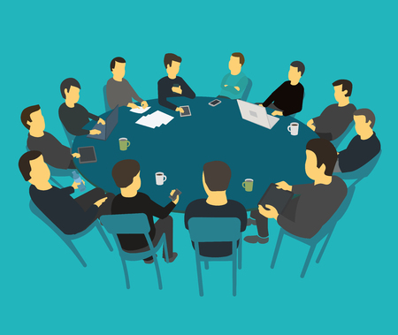 Round big table talks brainstorm. Team business people meeting conference many people. Blue background stock illustration vector