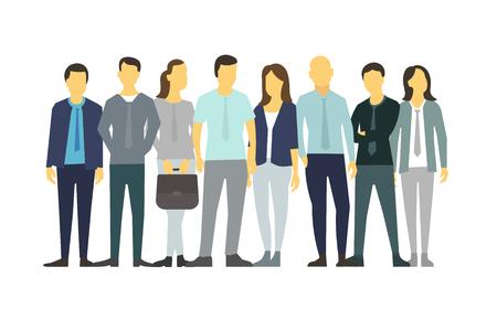 fila de personas: Eight people in line group people.