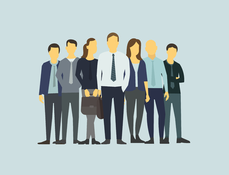 Company business group people of office clerks. Illustration
