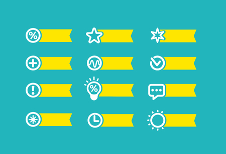 With yellow flag set of icons on a blue background for technical appliance devices. Vector set