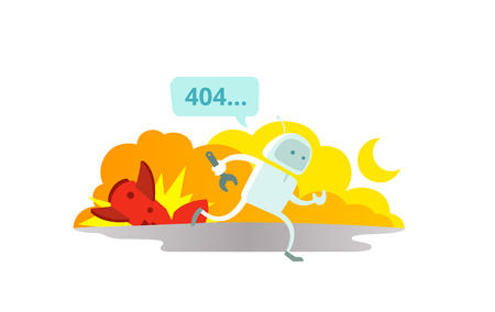 Error page 404 not found Crash accident with missile rocket Cosmonaut running repairs