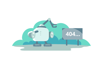 page not found: Moonwalker stopped opposite the sign 404 error. cute Illustration for error page 404 not found Illustration