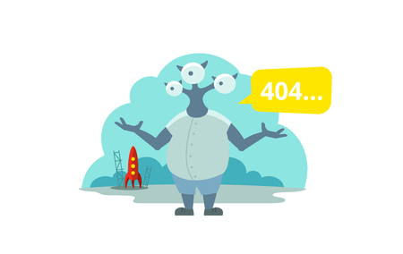 Error page 404 not found. Three-eyed alien arrived on rocket Illustration