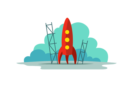 Red rocket color illustration. Flat style. The startup metaphor. Ready to start. A simpatic picture with blue cloud background.