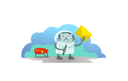 Disgruntled cat UFO alien arrived on rocket and brought letter postman. Funny news subscription vector illustration