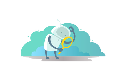 Robot astronaut with magnifier in hand looking for something. And scratches his head Illustration