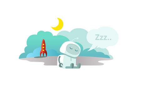 Alien The robot has arrived on rocket and is sleeping. Sleep mode Hibernation sitting. Illustration