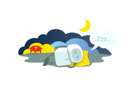 invented: Small robot sleeps lying on pillow has arrived rocket and sleeping. Sleep mode Hibernation sitting. Mtaphor - closed.