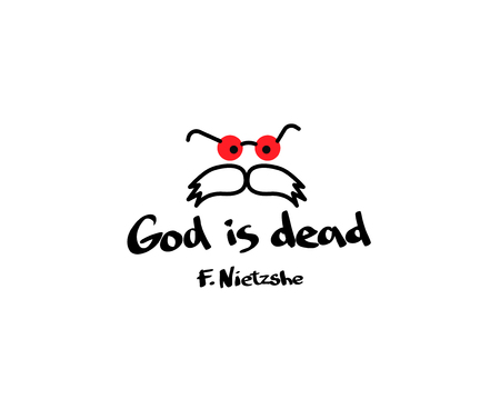 God is dood. Citaat met afbeelding op T-shirtkleren. De gedachte van de filosoof Friedrich Nietzsche.