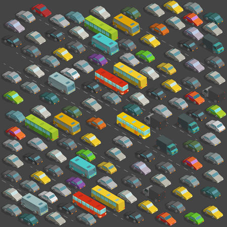 City horrendous traffic jams Isometric projection view. A lot of many cars Vector illustration on background