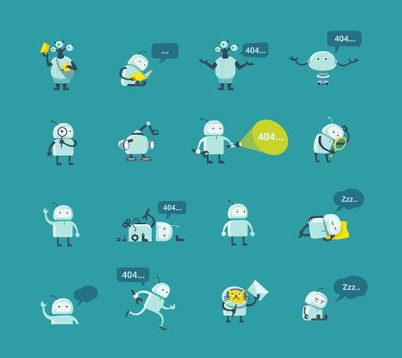to warn: Character robot set Different situations. 404 error page not found funny repairs. Vector Icons.
